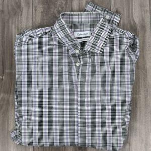 Calvin Klein Purple Plaid Shirt Sz 16